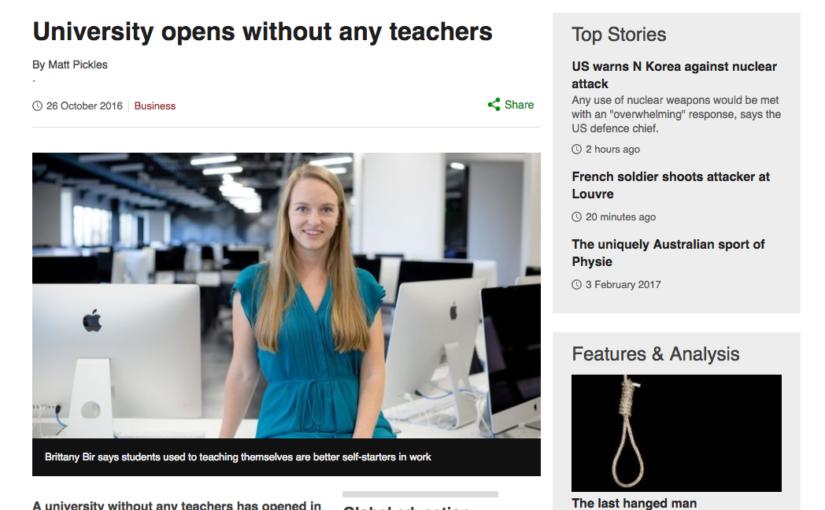 カリフォルニアに「先生のいない大学」が開校。